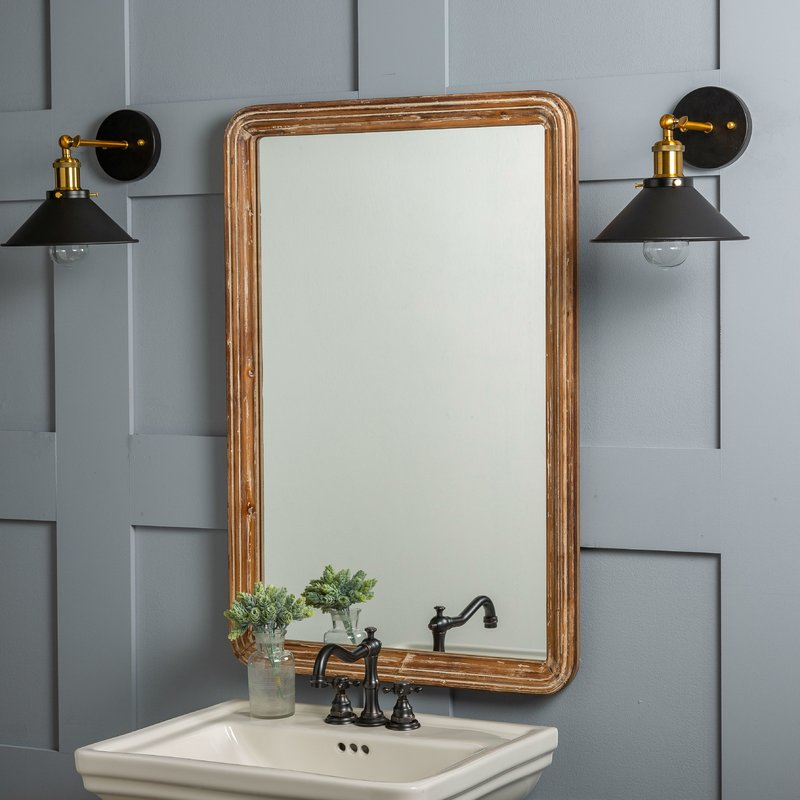 Luman Wall Mirror Within Kristy Rectangular Beveled Vanity Mirrors In Distressed (#19 of 20)
