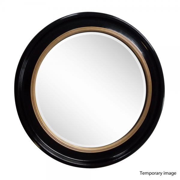 Luna Accent Mirror Round Black/gold 90Cm With Luna Accent Mirrors (#10 of 20)