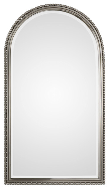 Luxe Beaded Silver Arch Metal Wall Mirror, Classic Vanity Traditional Nickel Regarding Traditional Metal Wall Mirrors (#6 of 20)