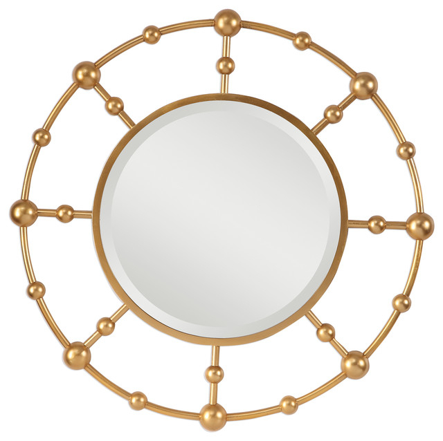 Luxe Gold Metal Ball Rod Wall Mirror | Open Circle Modern Industrial Sphere Regarding Industrial Modern & Contemporary Wall Mirrors (#12 of 20)