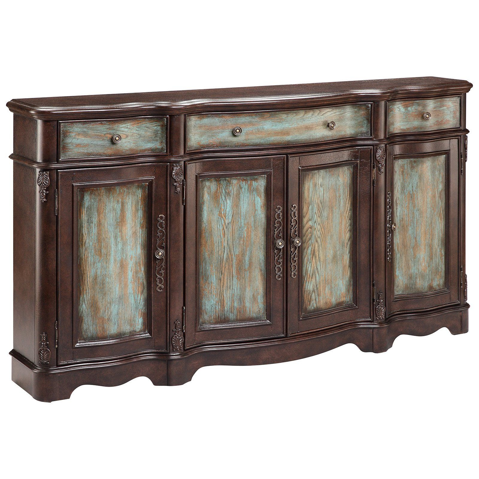 Lyle 4 Door Sideboard In Brown And Blue | Credenzas, Chests Intended For Most Recently Released Hewlett Sideboards (#15 of 20)