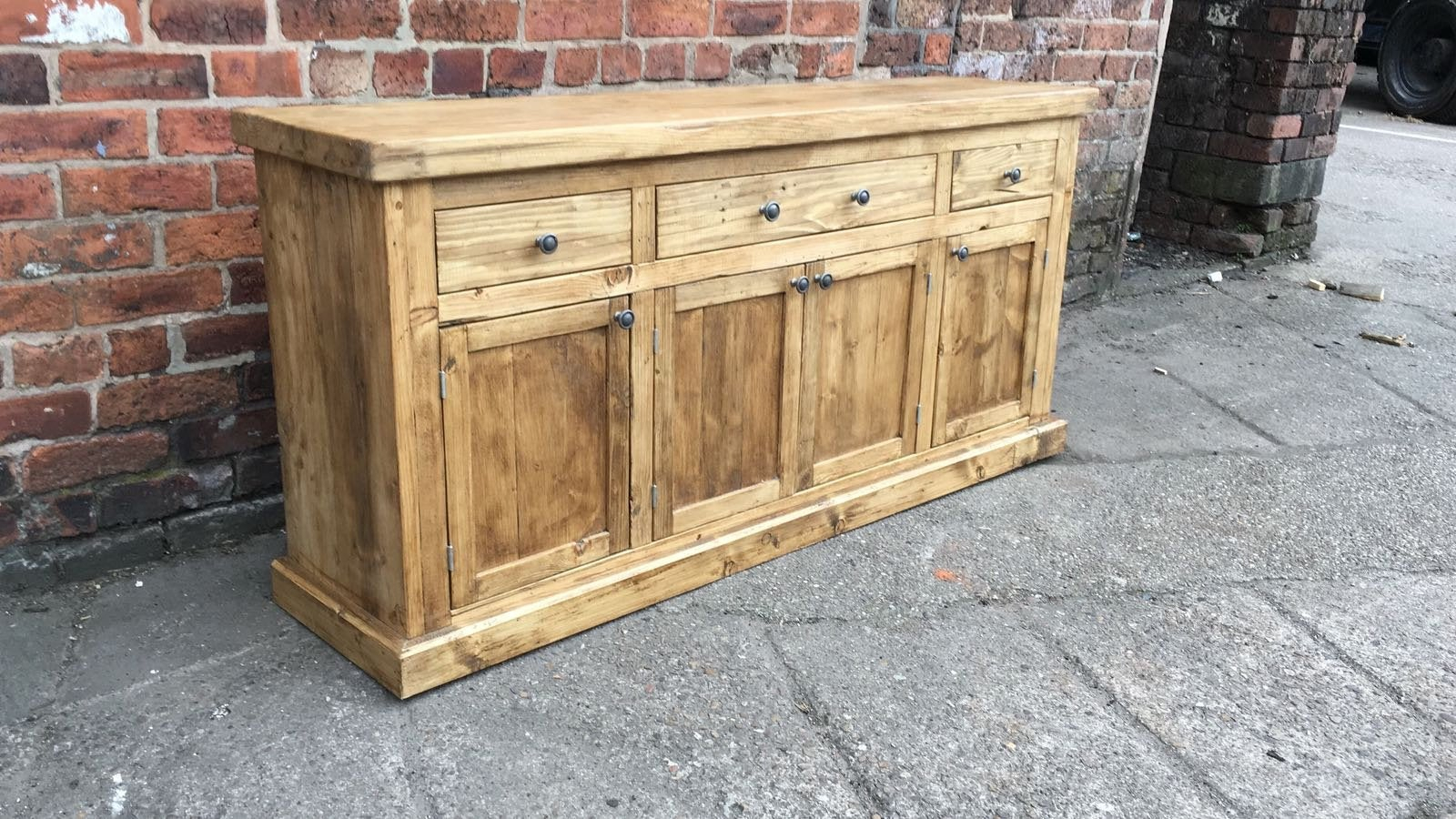 Inspiration about Made To Measure Solid Reclaimed Wood Sideboard. Contemporary Industrial Shaker Rustic Dresser Unit Aged Oak Farmhouse 3 Drawer Over Cupboard Intended For 2018 Mcdonnell Sideboards (#11 of 20)