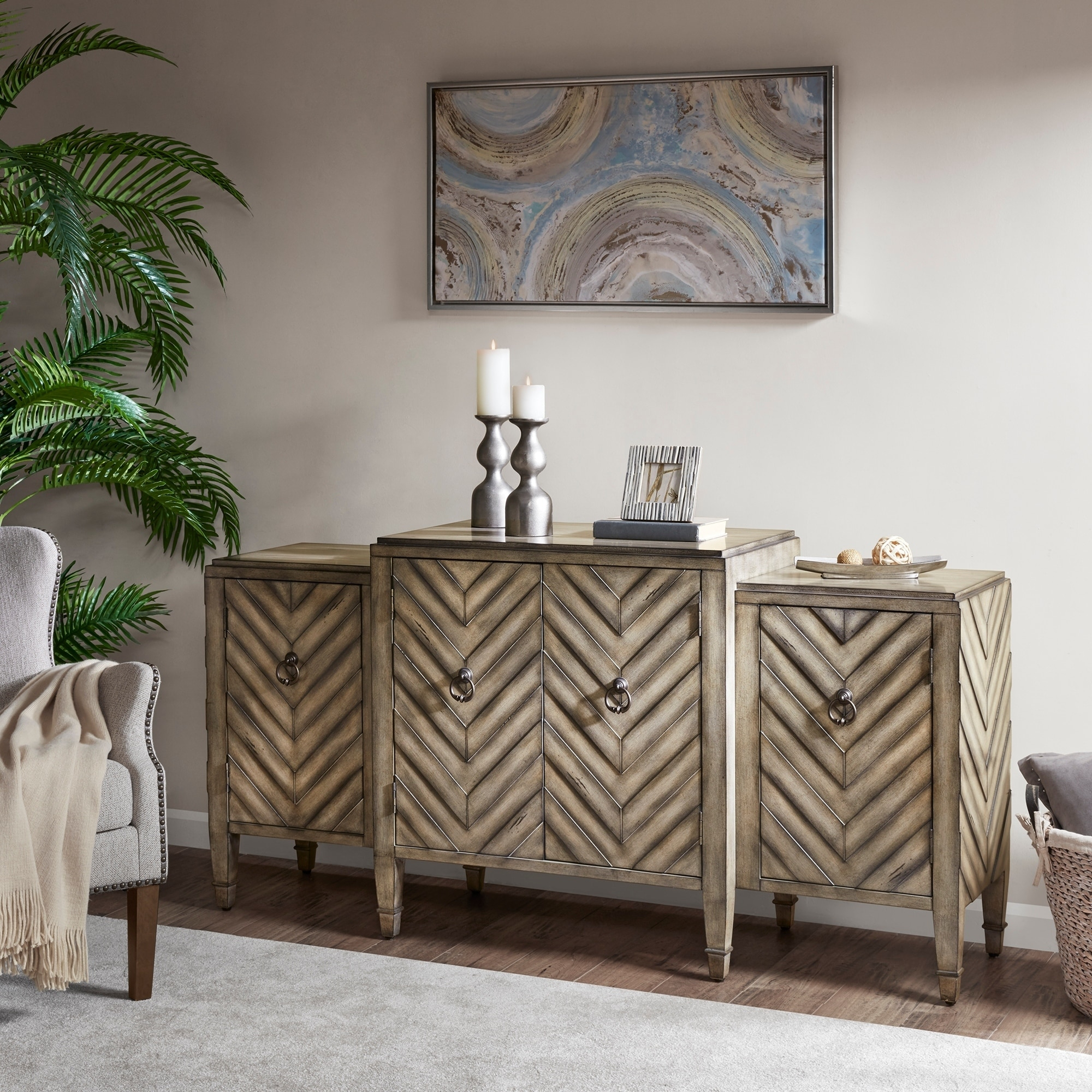 "Inspiration about Madison Park Egan Beige Sideboard – 68""w X 18""d X 34.25""h With Most Current Armelle Sideboards (#12 of 20)"