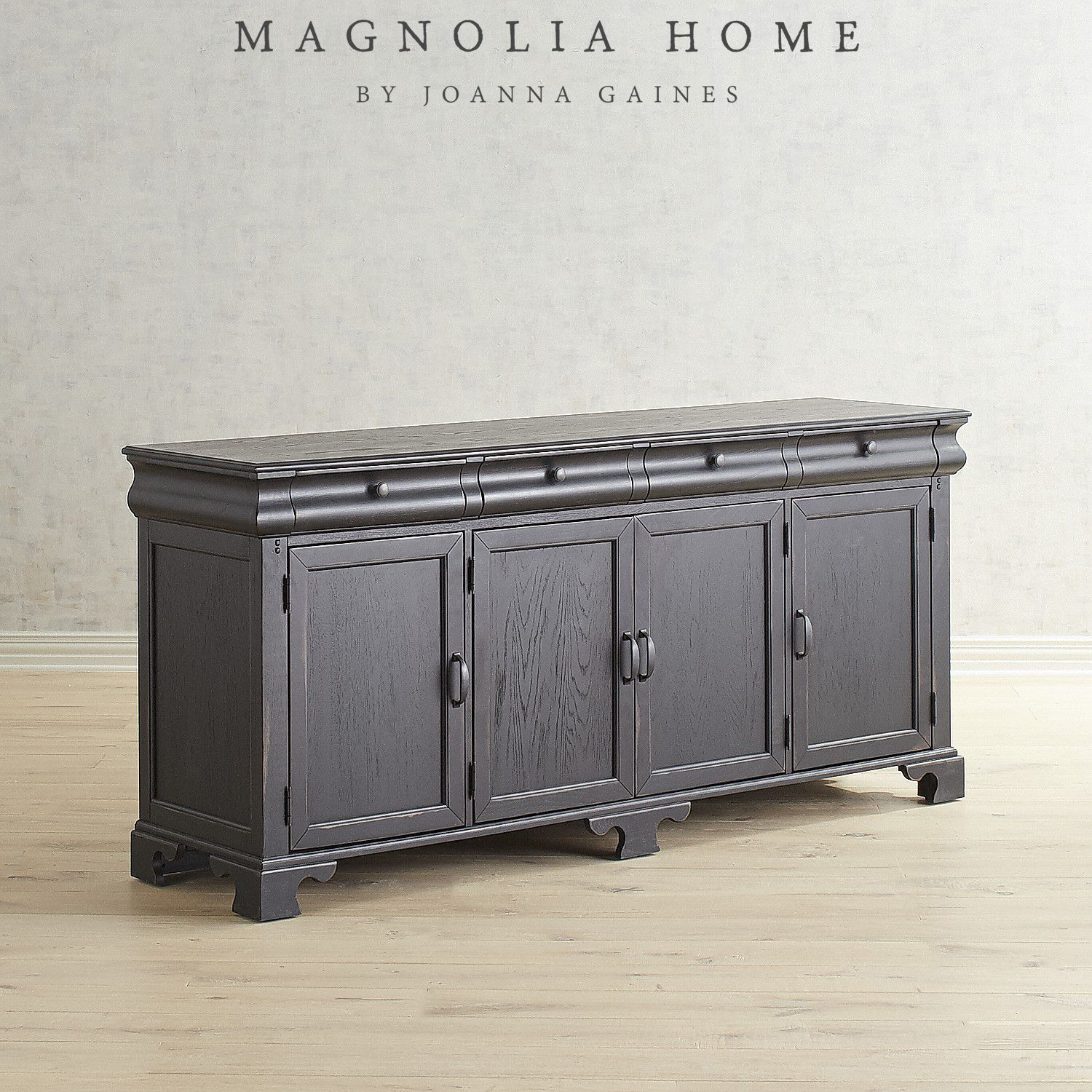 Magnolia Home Chimney Showcase Buffet Black | Products With Regard To Most Recently Released Solana Sideboards (#10 of 20)