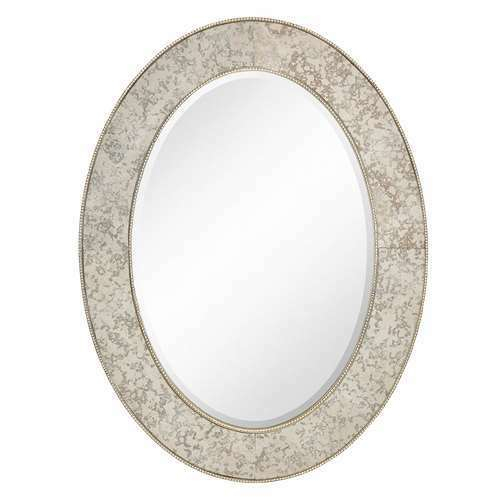 "Majestic 30X40"" Traditional Silver Oval Framed Beveled Glass Mirror (Open  Box) Pertaining To Traditional Beveled Accent Mirrors (#8 of 20)"