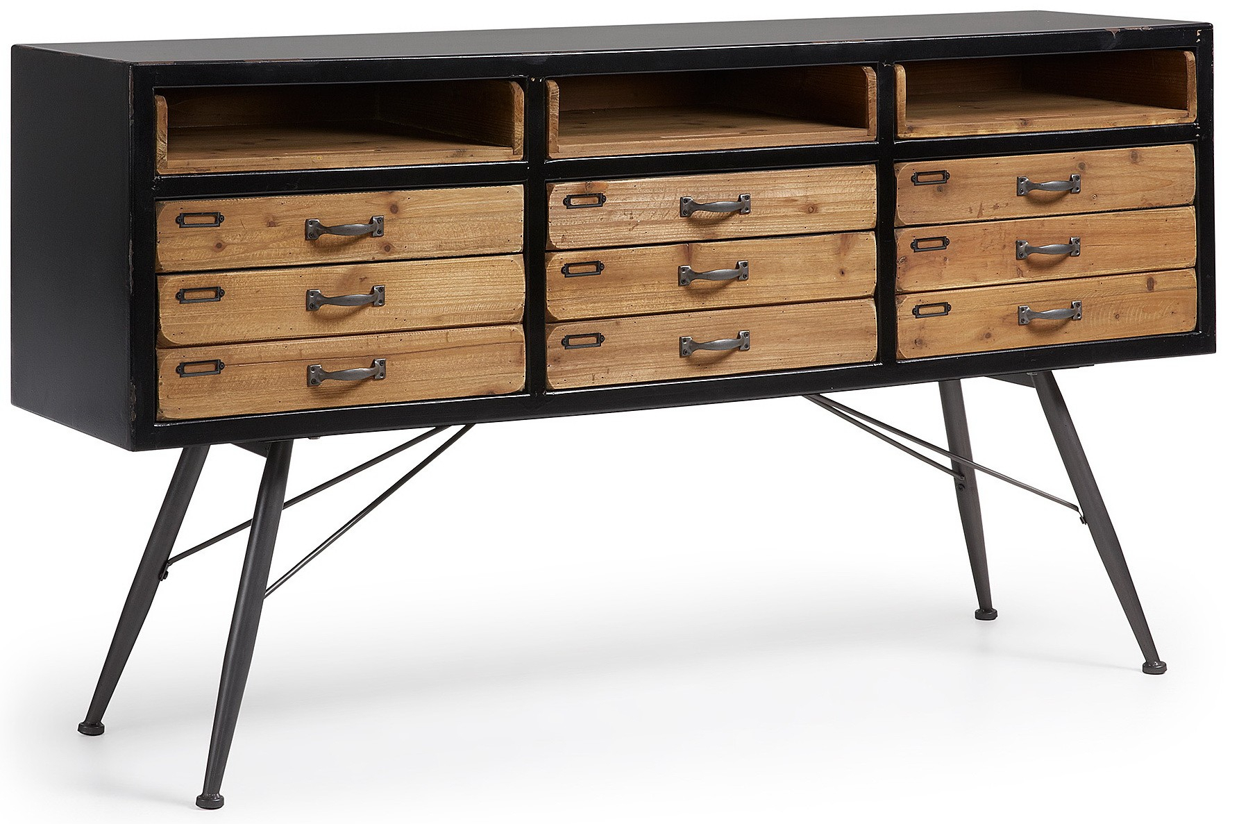 Malcom 155x40 In Black Wood And Aged Metal Foot Sideboard In Recent Malcom Buffet Table (View 19 of 20)
