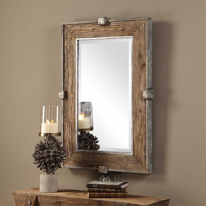 Inspiration about Maleah Weathered Wood Accent Mirror With Regard To Wood Accent Mirrors (#9 of 20)