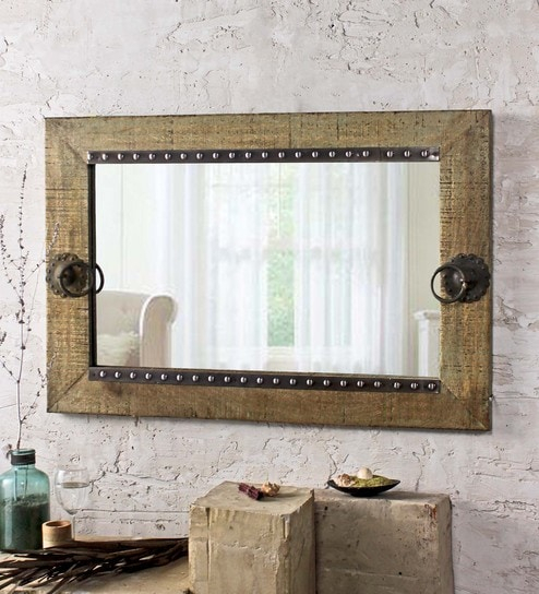 Inspiration about Mango Wood Antique Frame Green Bathroom Mirror (L: 28, W: 1, H: 20 Inches) Fabuliv Within Kayden Accent Mirrors (#18 of 20)