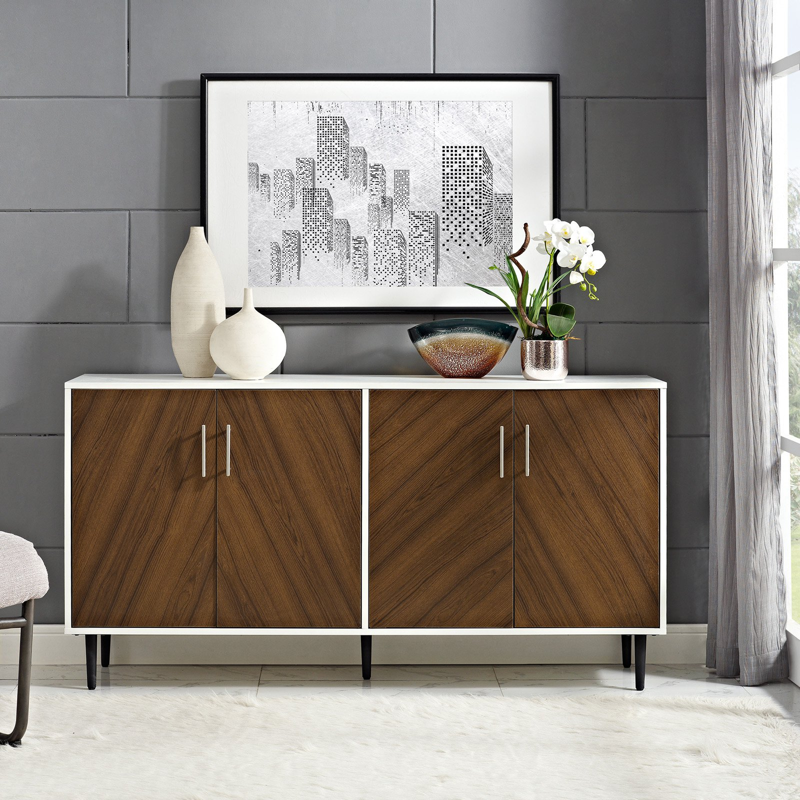 Inspiration about Manor Park 58 In. Modern Bookmatch Buffet | Decor In 2019 Inside 2018 Keiko Modern Bookmatch Sideboards (#4 of 20)