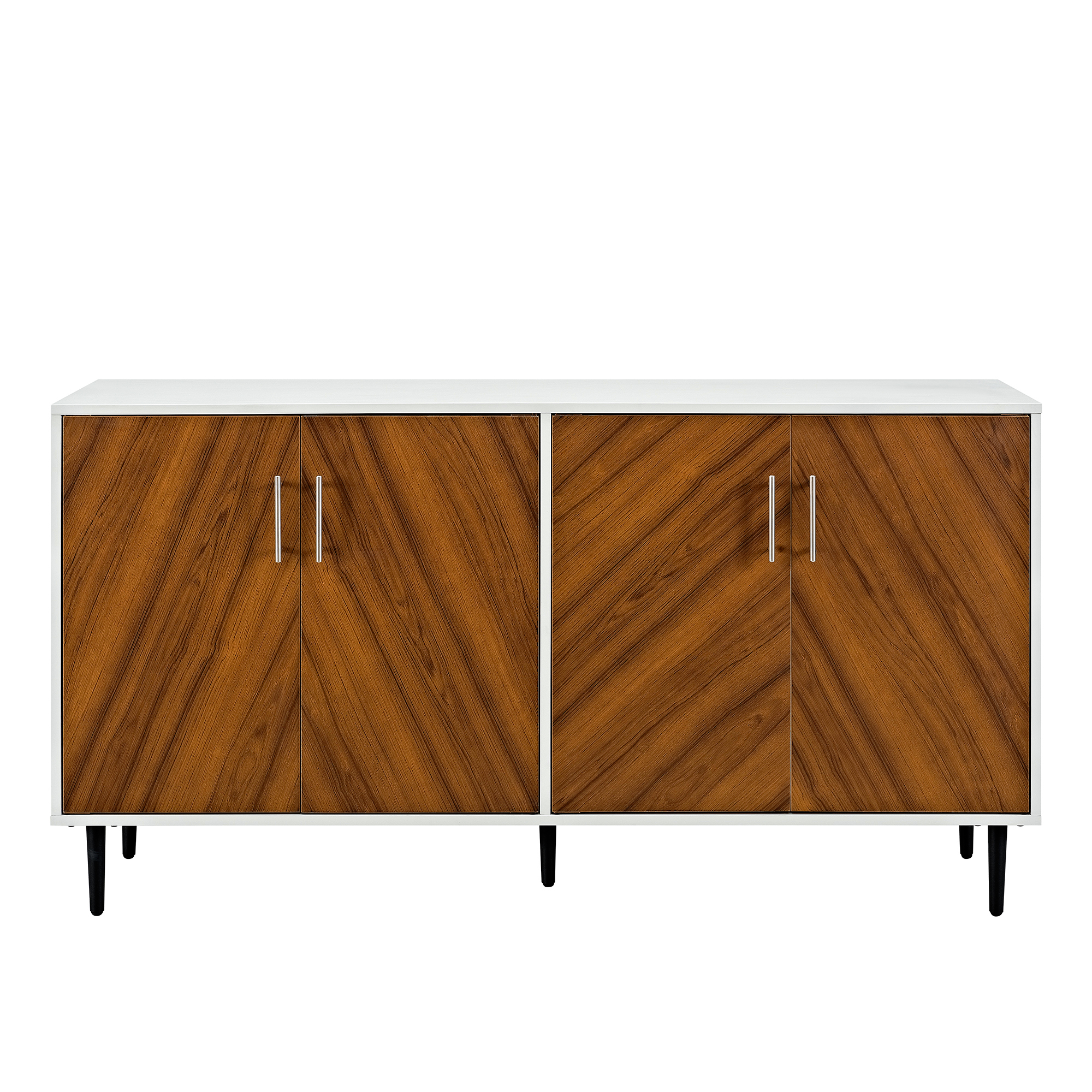 Inspiration about Manor Park Mid Century Modern Bookmatch Buffet – White/teak Intended For Best And Newest Keiko Modern Bookmatch Sideboards (#11 of 20)