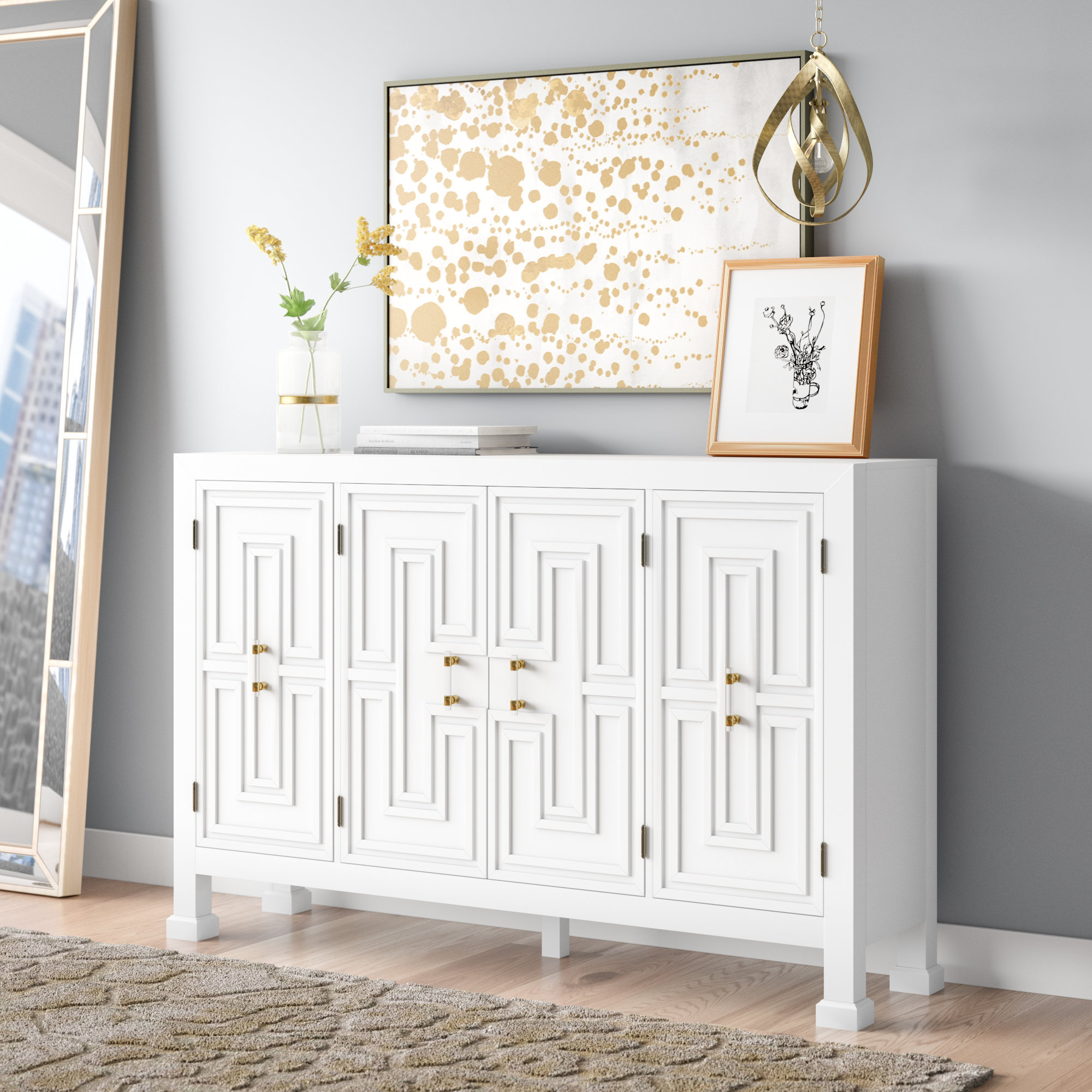 Mercer41 Lainey Credenza & Reviews | Wayfair Intended For Best And Newest Lainey Credenzas (#15 of 20)