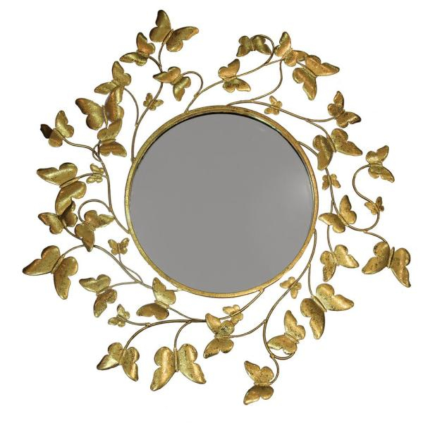 Inspiration about Metallic Butterfly Gold Round Accent Mirror In Accent Mirrors (#15 of 20)