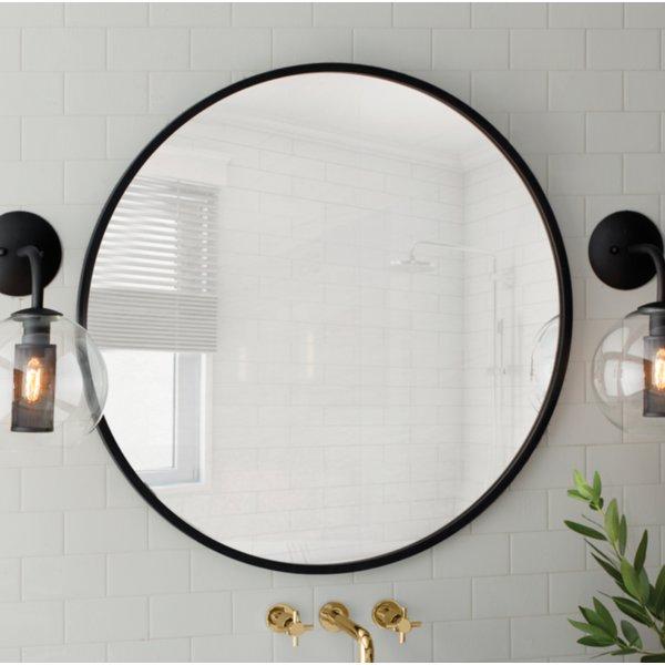 Inspiration about Modern & Contemporary 24 Inch Round Mirror | Allmodern Within Point Reyes Molten Round Wall Mirrors (#16 of 20)