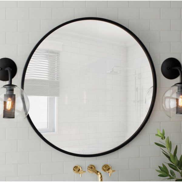 Inspiration about Modern & Contemporary Black Framed Round Mirror | Allmodern For Tata Openwork Round Wall Mirrors (#15 of 20)