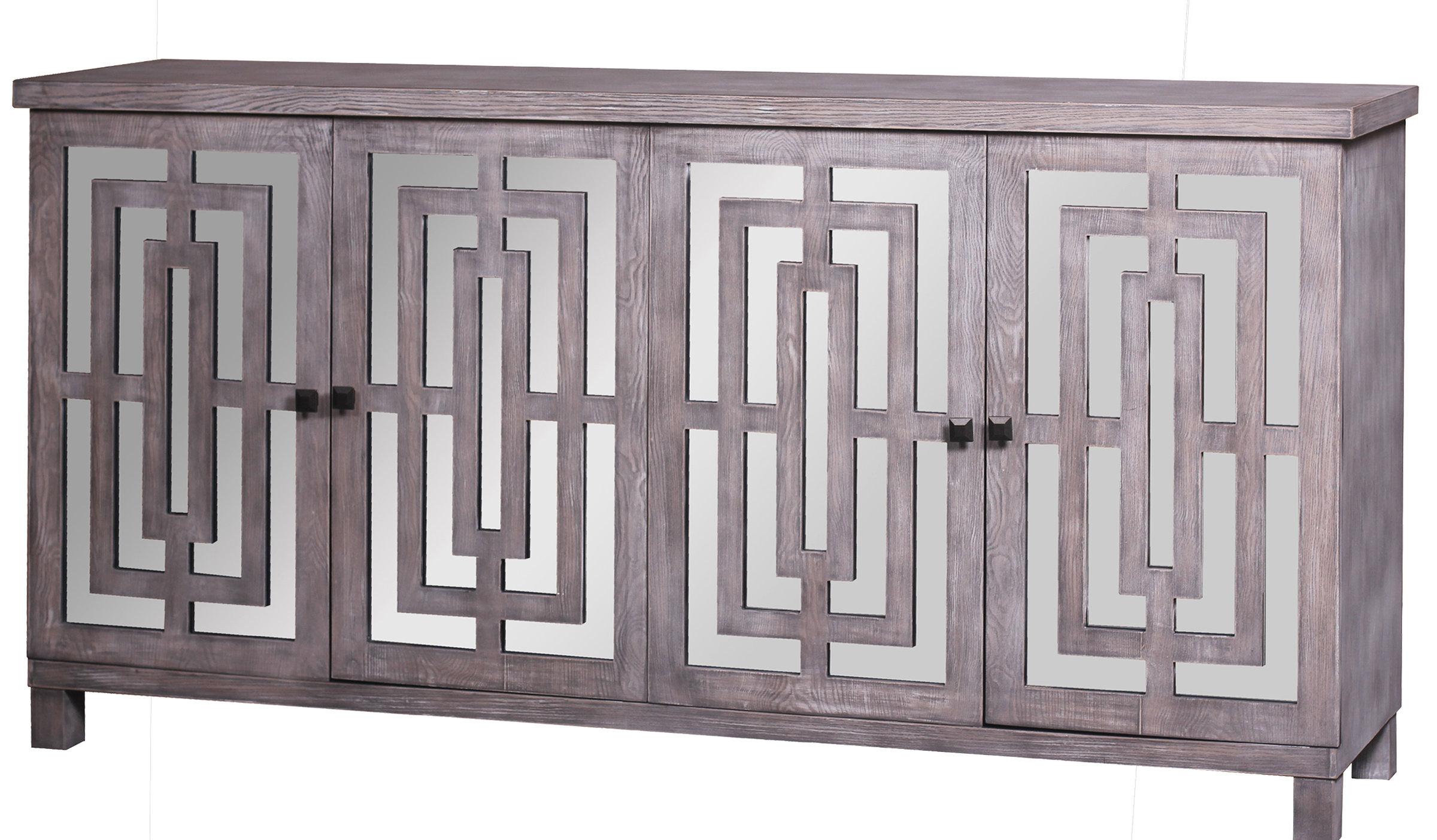 Modern & Contemporary Kieth 4 Door Credenza | Allmodern Throughout Latest Kattie 4 Door Cabinets (View 13 of 20)