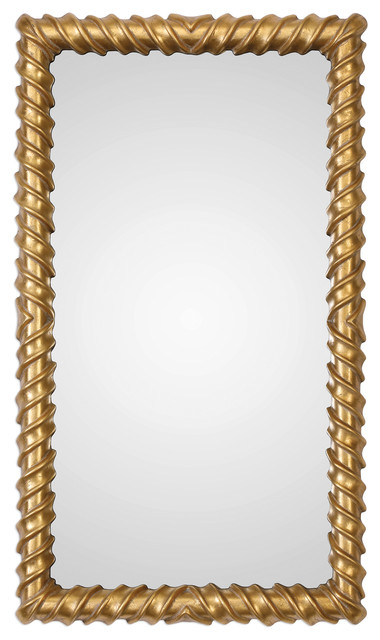 "Modern Gold Spiral Tube Wall Mirror, 43"" Ribbed Industrial Metallic Vanity In Industrial Modern & Contemporary Wall Mirrors (#14 of 20)"