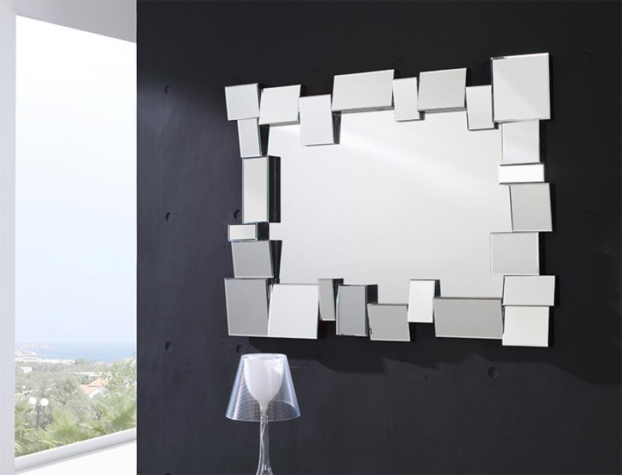 Modern Rectangular Wall Mirror With Large Mosaic Frame With Regard To Modern Rectangle Wall Mirrors (#13 of 20)