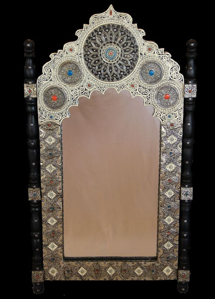 Moroccan Traditional Wall Mirror In Wood Camel Bone & Carved Inside Traditional Metal Wall Mirrors (#7 of 20)
