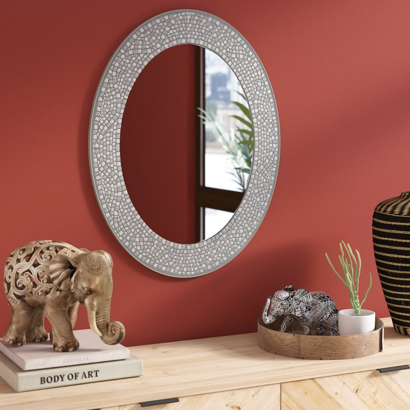 Inspiration about Mosaic Oval Accent Wall Mirror Pertaining To Sajish Oval Crystal Wall Mirrors (#20 of 20)