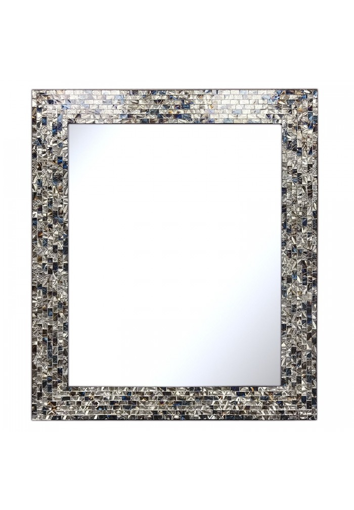 """Inspiration about Multi Colored And Silver 30"""" X 24"""" Luxe Mosaic Glass Framed Wall Mirror, Handmade Decorative Embossed Rectangular Vanity/accent Mirror Intended For Rectangle Antique Galvanized Metal Accent Mirrors (#17 of 20)"""