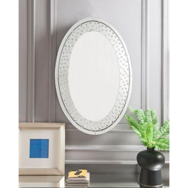Nysa Mirrored And Faux Crystals Accent Mirror Inside Oval Metallic Accent Mirrors (#12 of 20)