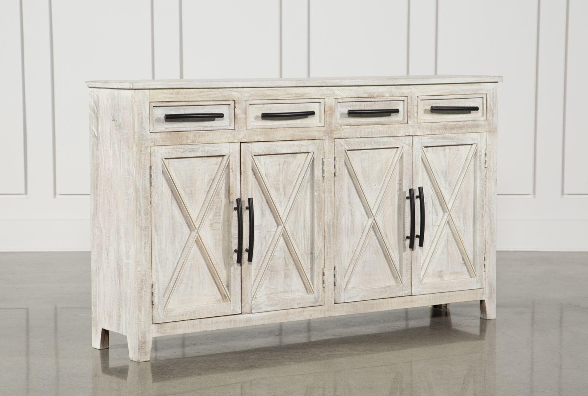 Otb White Wash 4 Drawer/4 Door 72 Inch Sideboard | Home With Regard To Most Popular Deville Russelle Sideboards (#12 of 20)