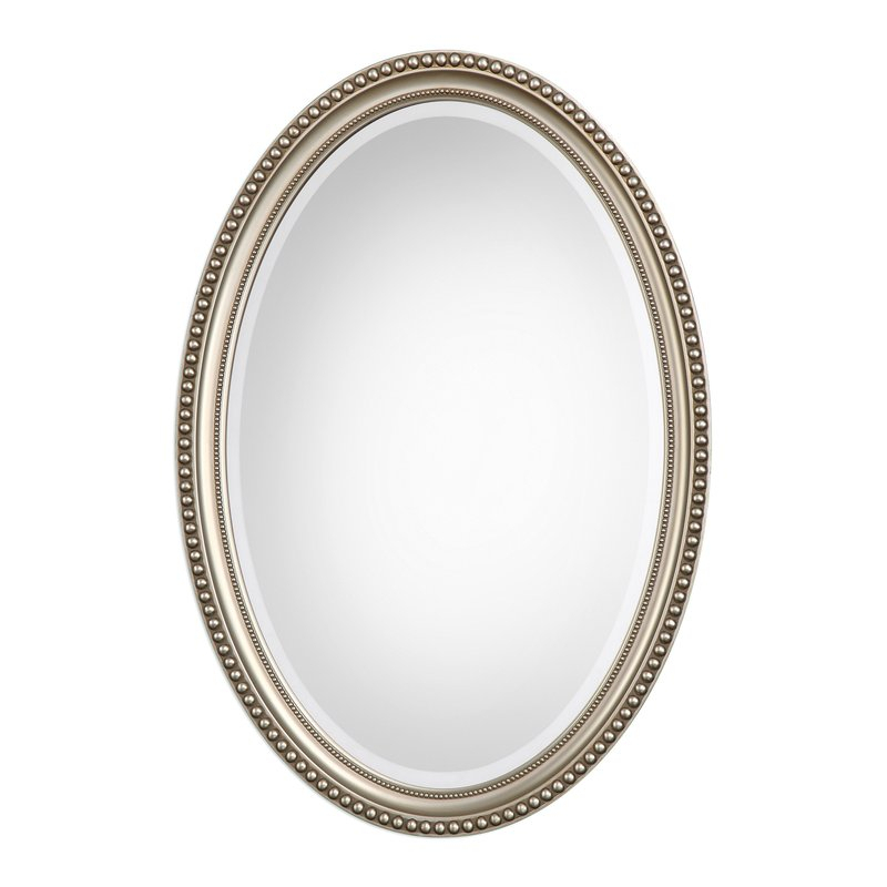 Oval Metallic Accent Mirror Pertaining To Oval Metallic Accent Mirrors (View 4 of 20)