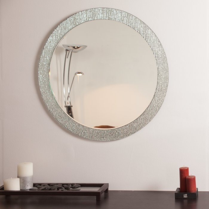 Point Reyes Molten Round Wall Mirror For Sajish Oval Crystal Wall Mirrors (#4 of 20)
