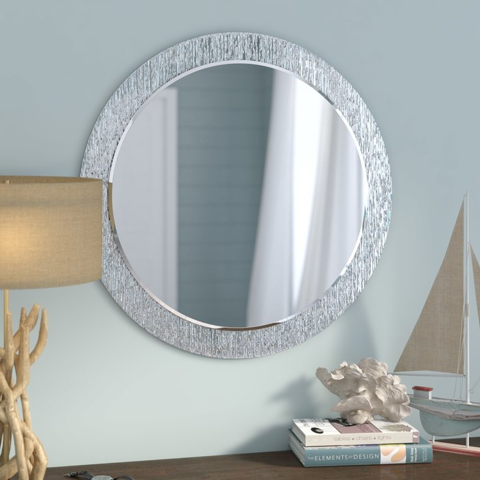 Inspiration about Point Reyes Molten Round Wall Mirror Regarding Sajish Oval Crystal Wall Mirrors (#7 of 20)