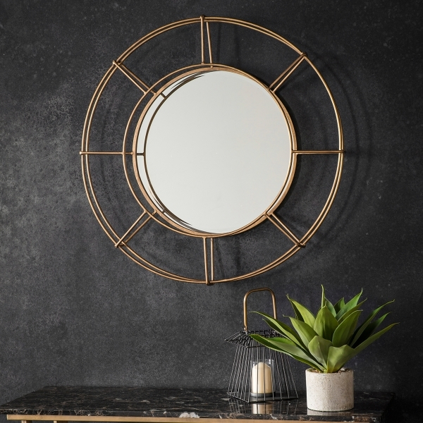 Portal Industrial Metal Round Wall Mirror, Gold Regarding Industrial Modern & Contemporary Wall Mirrors (#16 of 20)