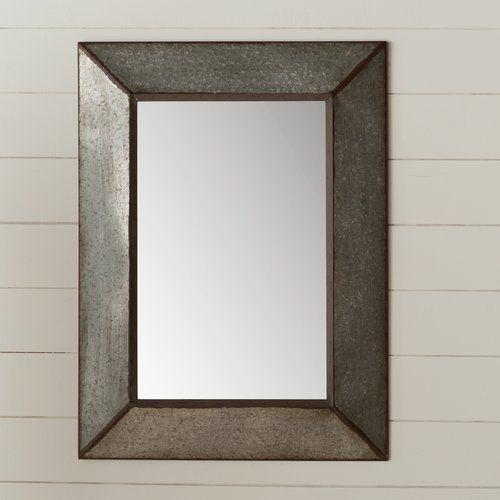 Rectangle Antique Galvanized Metal Accent Mirror | Bathroom In Bartolo Accent Mirrors (View 10 of 20)