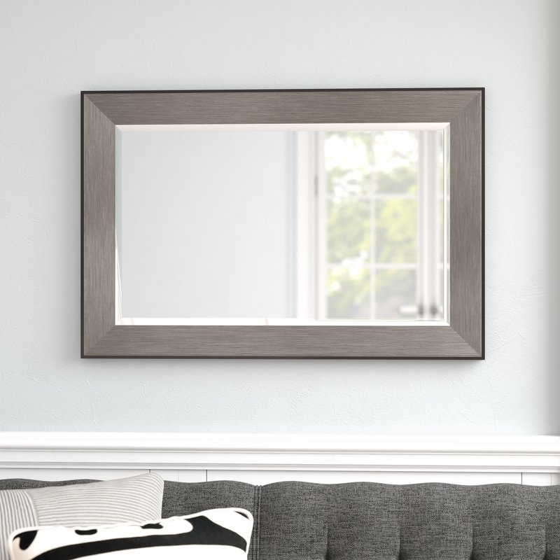 Rectangle Pewter Beveled Wall Mirror Throughout Rectangle Pewter Beveled Wall Mirrors (#15 of 20)