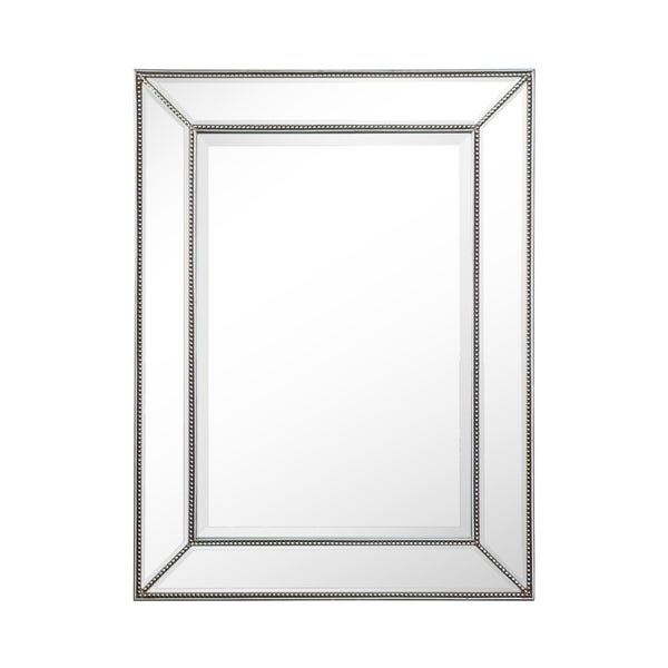 Rectangle Silver Beaded Accent Wall Mirror Regarding Beaded Accent Wall Mirrors (#18 of 20)