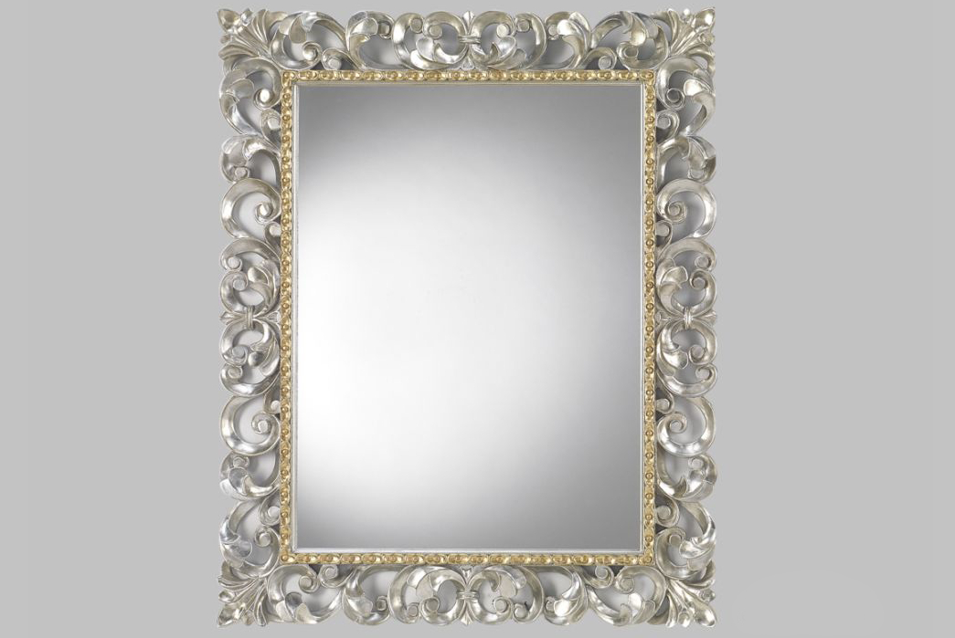 Rectangular Mirror – Hand Carved Silver Wood Frame – Luxury For Silver Frame Accent Mirrors (#17 of 20)