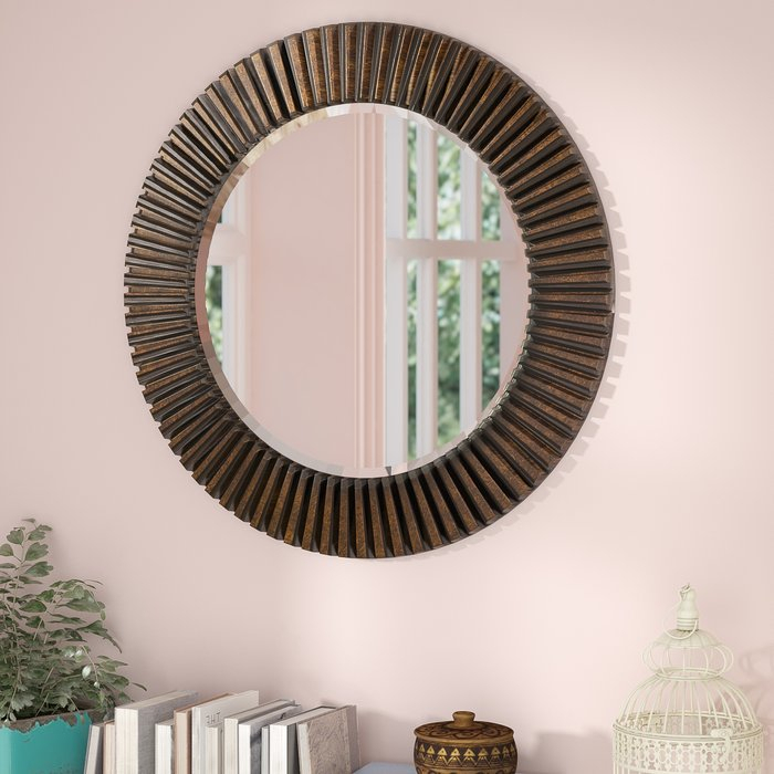 Inspiration about Round Eclectic Accent Mirror For Point Reyes Molten Round Wall Mirrors (#18 of 20)