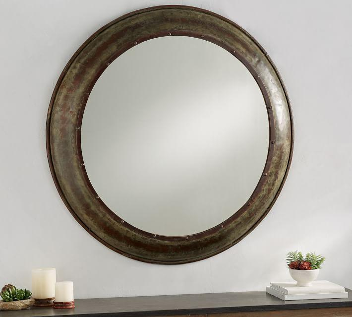 Inspiration about Round Galvanized Barn Exposed Rivets Mirror Intended For Round Galvanized Metallic Wall Mirrors (#3 of 20)