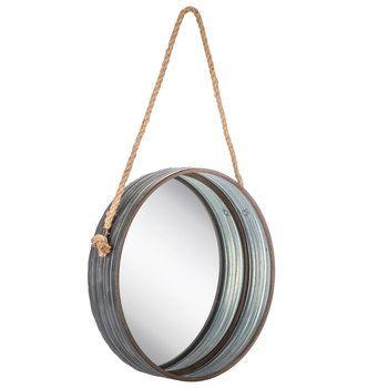 Inspiration about Round Galvanized Metal Wall Mirror   Cabin Decor In 2019 Regarding Round Galvanized Metallic Wall Mirrors (#6 of 20)
