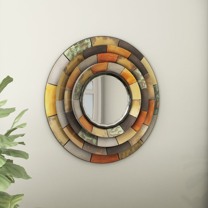 Inspiration about Round Galvanized Metallic Wall Mirror Intended For Round Galvanized Metallic Wall Mirrors (#1 of 20)