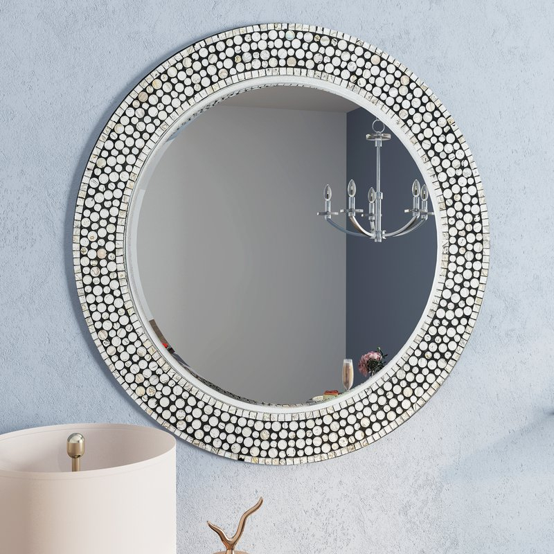 Round Gray Decorative Wall Mirror Intended For Lidya Frameless Beveled Wall Mirrors (#16 of 20)