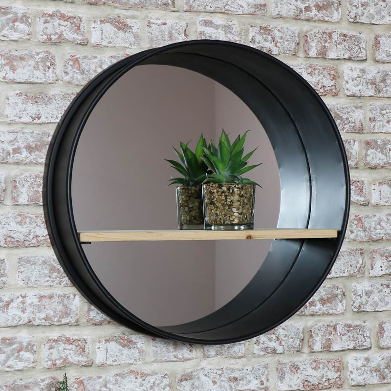 Round Industrial Metal Framed Wall Mirror With Shelf 49Cm X 49Cm Throughout Industrial Modern & Contemporary Wall Mirrors (#17 of 20)