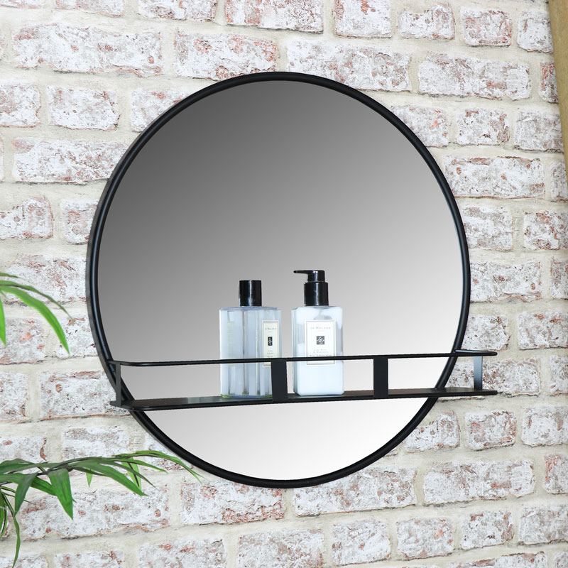Round Wall Mirror With Shelf Throughout Industrial Modern & Contemporary Wall Mirrors (#18 of 20)