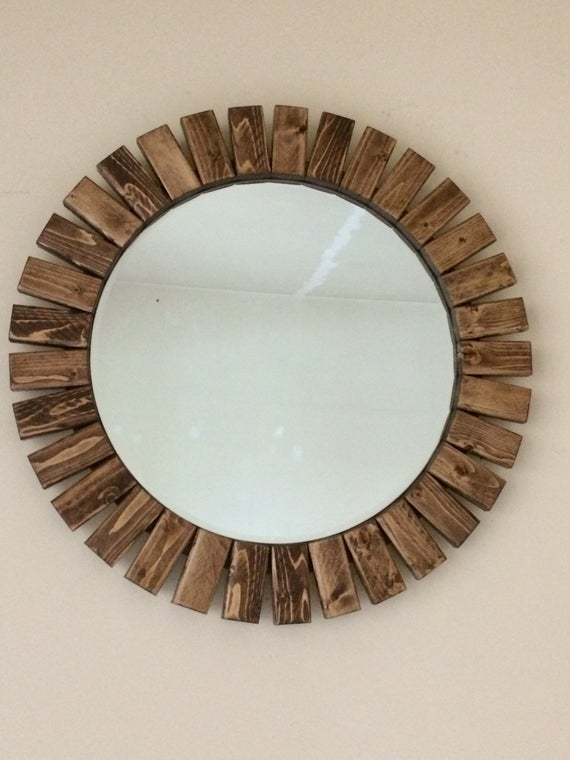 "Round Wall Mirror Wooden Sunburst Special Walnut Color 22"" Within Deniece Sunburst Round Wall Mirrors (#14 of 20)"