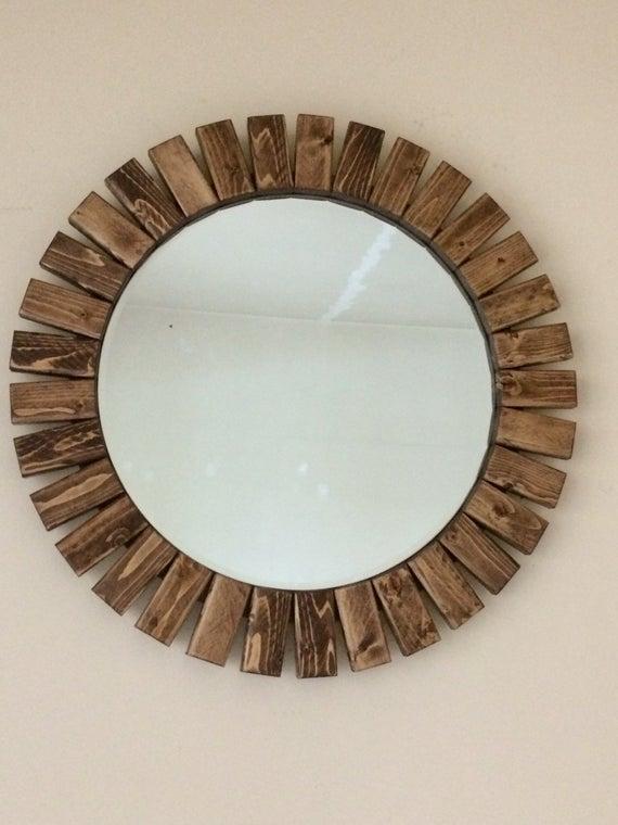 "Inspiration about Round Wall Mirror Wooden Sunburst Special Walnut Color 22"" Within Deniece Sunburst Round Wall Mirrors (#20 of 20)"