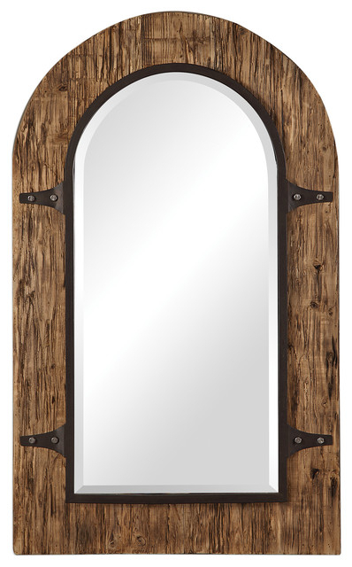 "Rustic Gothic Reclaimed Wood Arch Wall Mirror, 50"" Old World Iron  Traditional Throughout Burnes Oval Traditional Wall Mirrors (#19 of 20)"