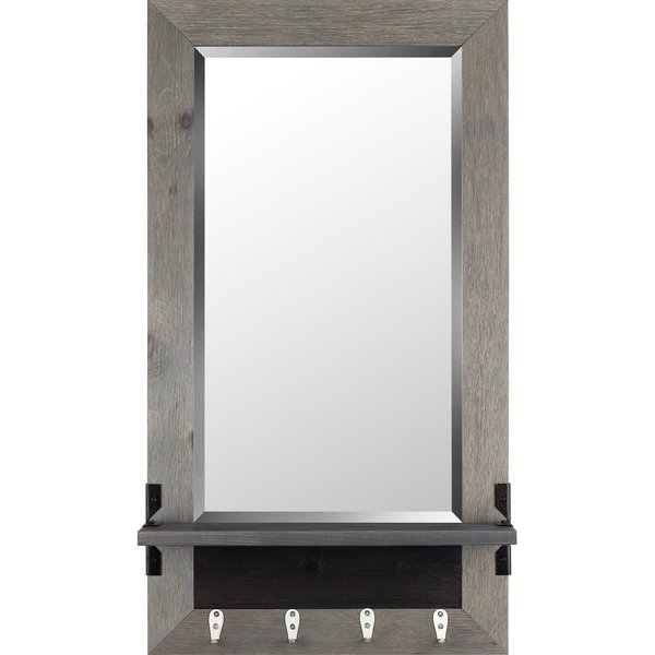 Shelf Wood Modern & Contemporary Beveled Shelves Accent Mirror Throughout Hallas Wall Organizer Mirrors (View 9 of 20)