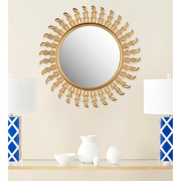 Shop Safavieh Handmade Inca Gold 32 Inch Sunburst Mirror Within Deniece Sunburst Round Wall Mirrors (#15 of 20)
