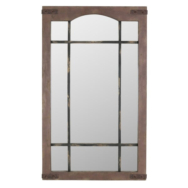 Shop Sheridan Faux Window Wall Mirror – Brown – Free In Faux Window Wood Wall Mirrors (View 18 of 20)