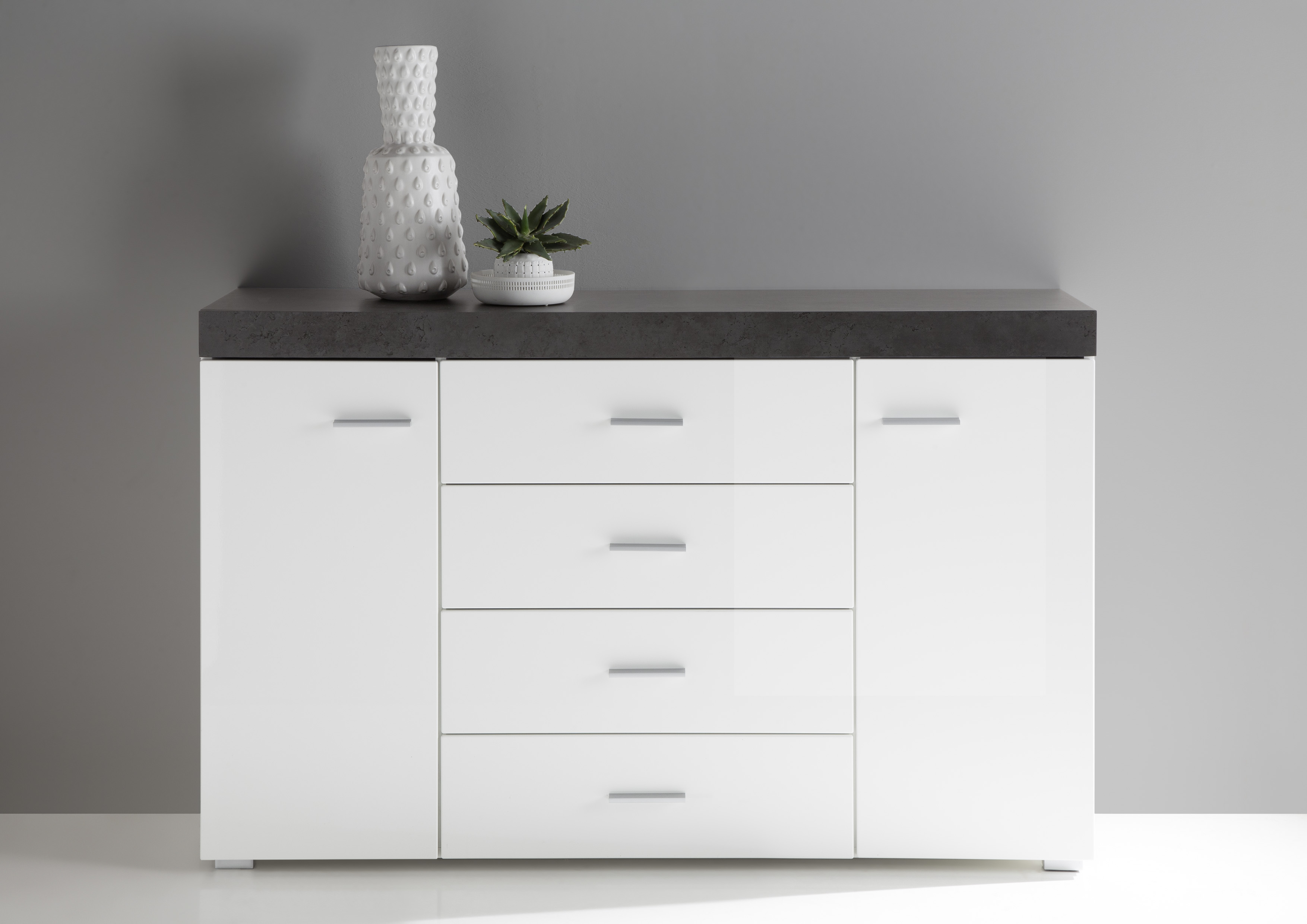 """Sideboard """"kendall Chic"""", Kommode, Wohnzimmerkommode, 136 X 86 X 40 Cm, Weiß/dark Concret Pertaining To 2017 Kendall Sideboards (View 3 of 20)"""