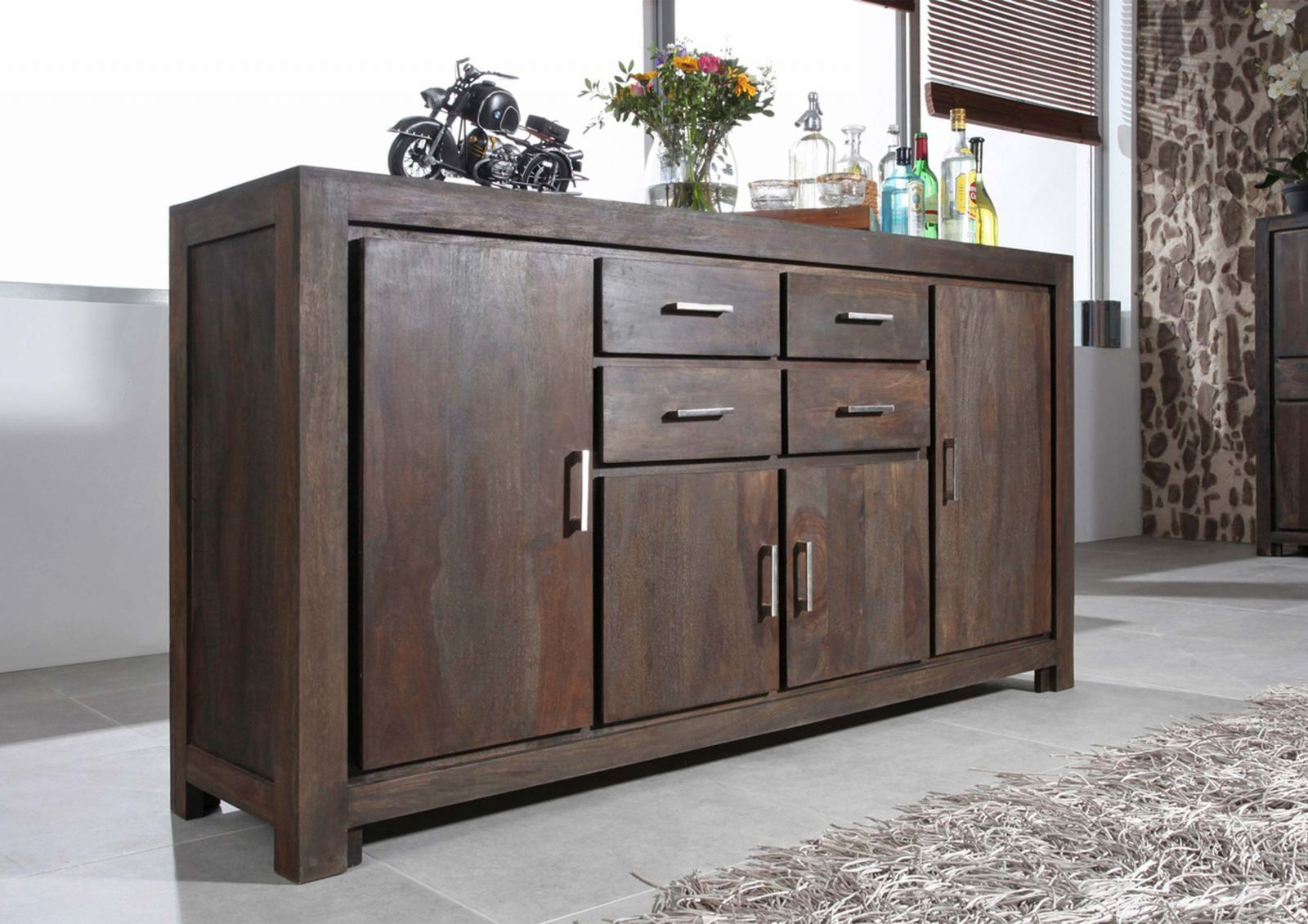 Sideboard Metro Polis Sheesham/palisander 178X45X95 Cm Modern Intended For Most Current Metro Sideboards (#10 of 20)