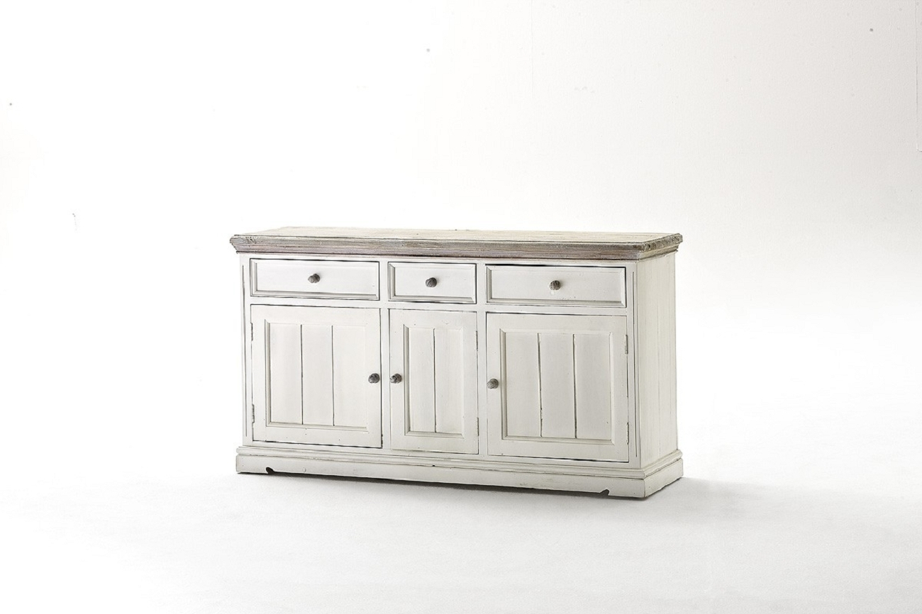 """Sideboard """"mon Monde Ii"""" Kommode, Recyceltes Kiefernholz, White Sanded, 165x90x47cm With Regard To Most Recently Released Kendall Sideboards (View 11 of 20)"""
